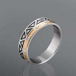 """Кольцо """"Геометрия"""" из серебра и золота"""