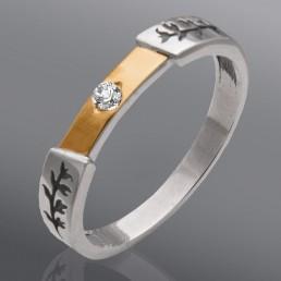 """Серебряное кольцо """"Ювента"""" с золотом"""