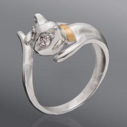 """Серебряное кольцо с золотом """"Кошечка"""""""