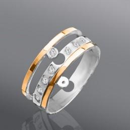 """Серебряное кольцо с золотом """"Дуэт"""""""