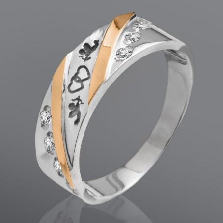 """Серебряное кольцо """"Амур"""" с золотыми вставками"""