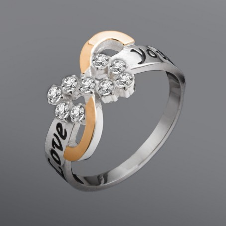 """Серебряное кольцо со вставкой золота """"Love you"""""""