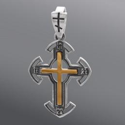 Серебряный крест с золотом, без камней
