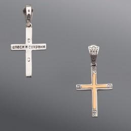 Серебряный крест с золотом, классический